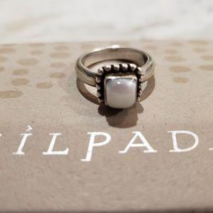 Silpada R1617 6 SS Button Frame MOP Ring EUC